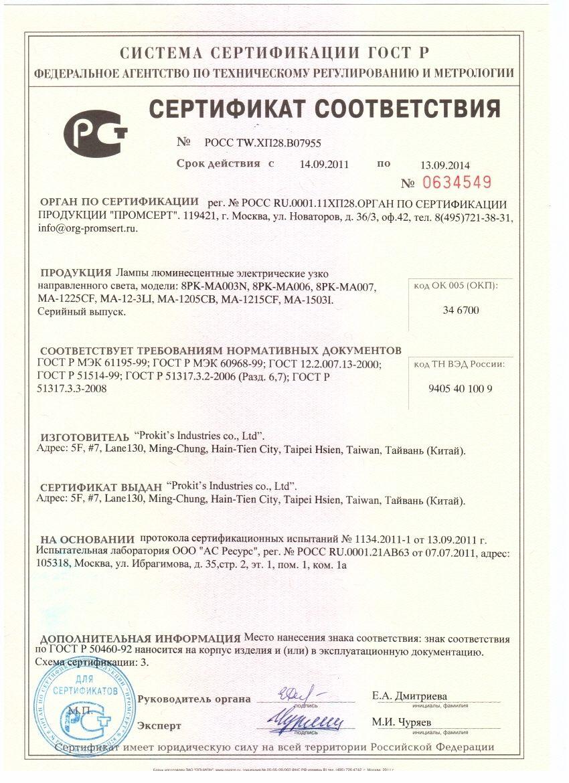 Сертификат на осветительное оборудование